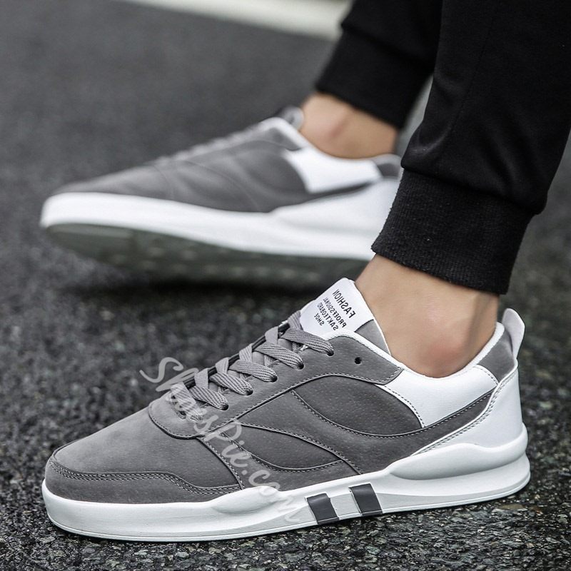 Round Toe Plain Lace-Up Casual Men's Sneakers