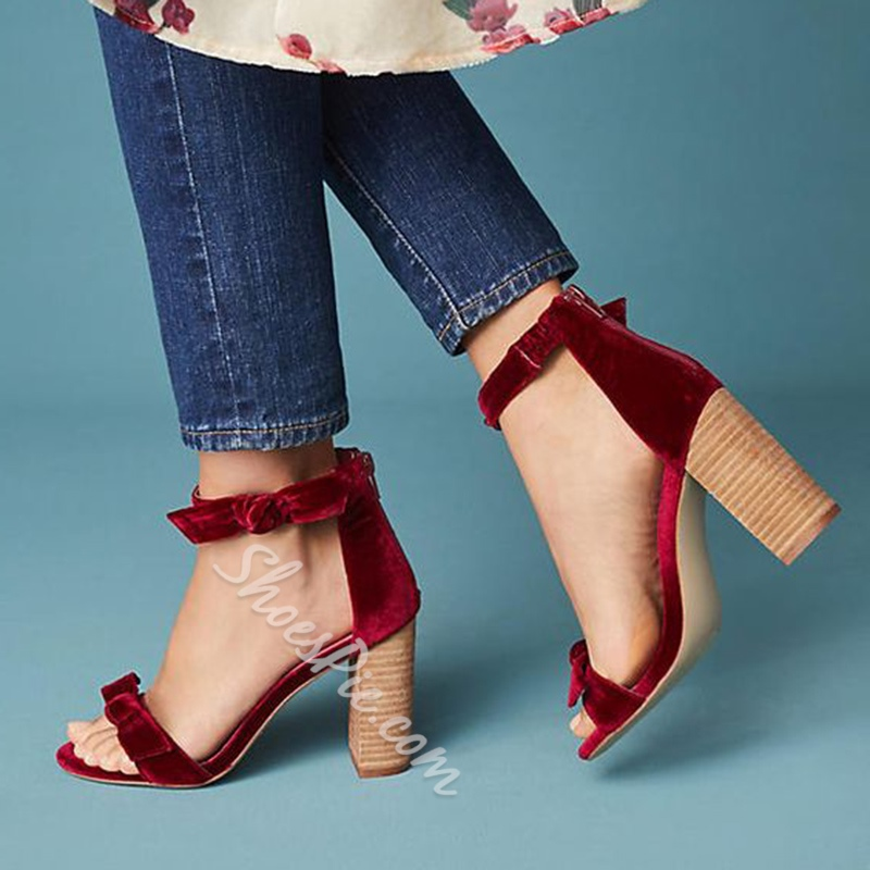 Red Bowknot Open Toe Dress Sandals