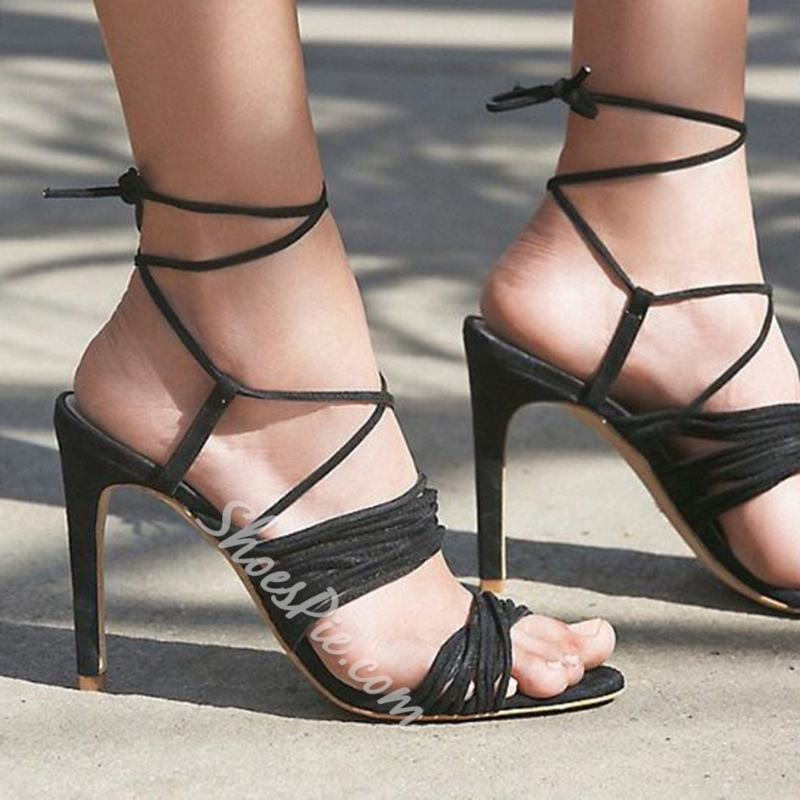 Black Sexy Lace-Up Stiletto Heels