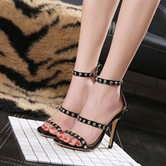 Black Rivet Stiletto Heel Dress Sandals