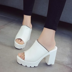 Solid Color Platform Slip-On Women's Shoes