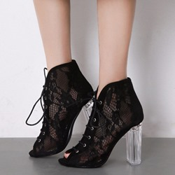Mesh Lace-Up Front Chunky Heel