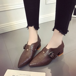 Solid Color Buckle Block Heel Shoes