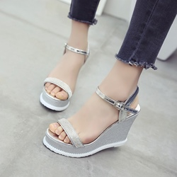 Rhinestone Ankle Strap Wedge Heel Sandals