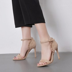 Line-Style Buckle Heel Covering Dress Sandals