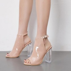 Fashion Peep Toe Hasp Chunky Heel Hollow