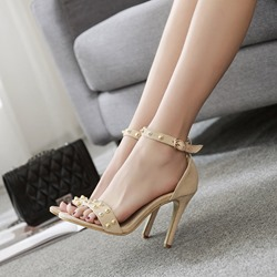 Rivet Line-Style Buckle Stiletto Heel Sandals