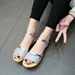 Patchwork Sequin Women's Flat Sandals