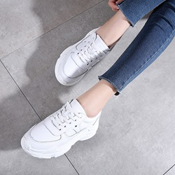 White Lace-Up Women's Casual Shoes