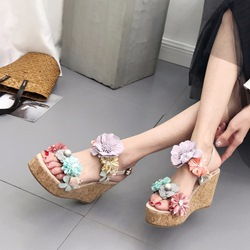 Floral Open Toe Wedge Heel Sandals