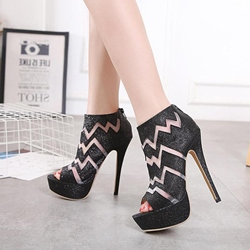 Black Platform High Stiletto Heel Boots