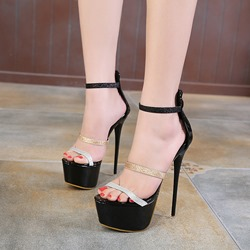 Black Platform High Stiletto Heel Sandals