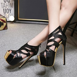 Black Platform Hollow Stiletto Heel Sandals