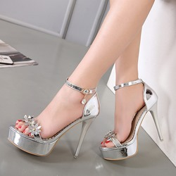 Open Toe Platform Rivet Stiletto Heel Sandals