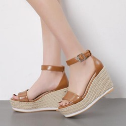 Open Toe Buckle Wedge Heel Sandals