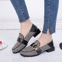 Plaid Buckle Block Heel Women's Shoes