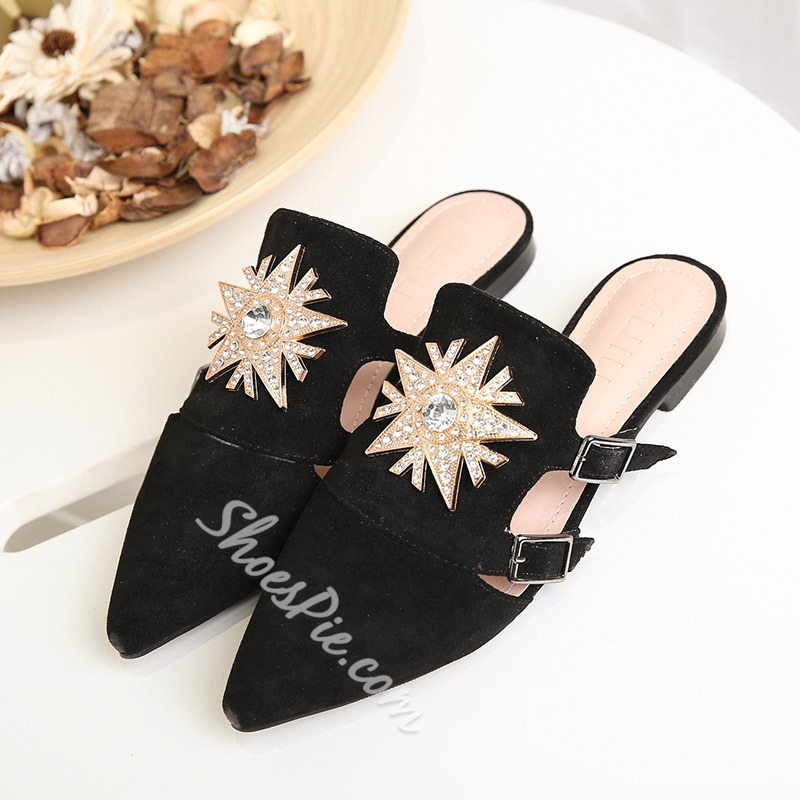 Solid Color Rhinestone Zipper Mules