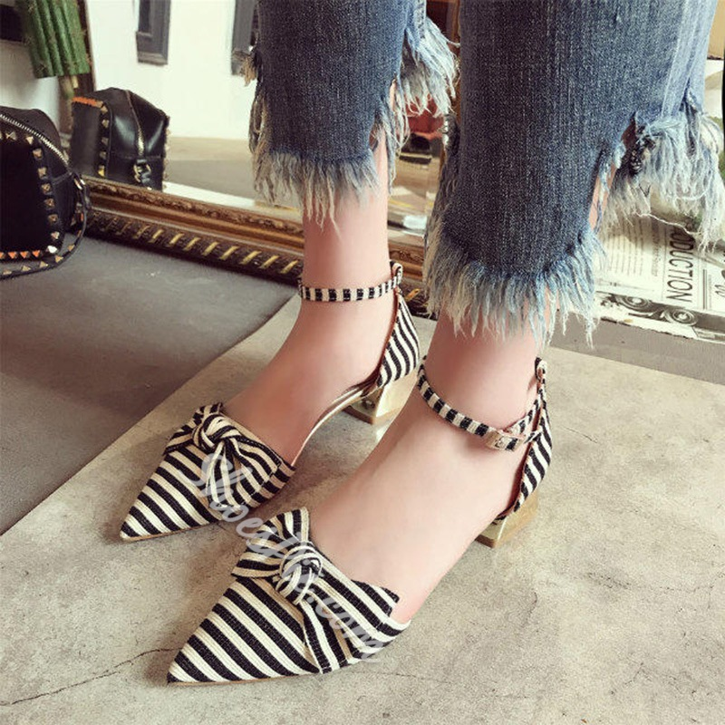 Stripe Line-Style Buckle Bowknot Shoes