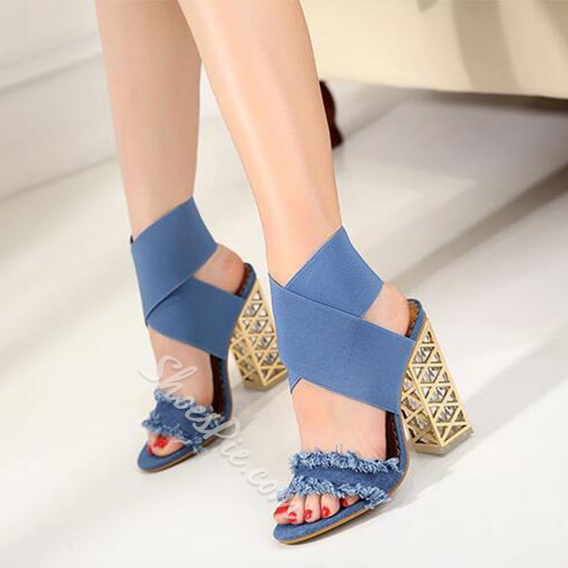 Denim Open Toe Chunky Heel Sandals