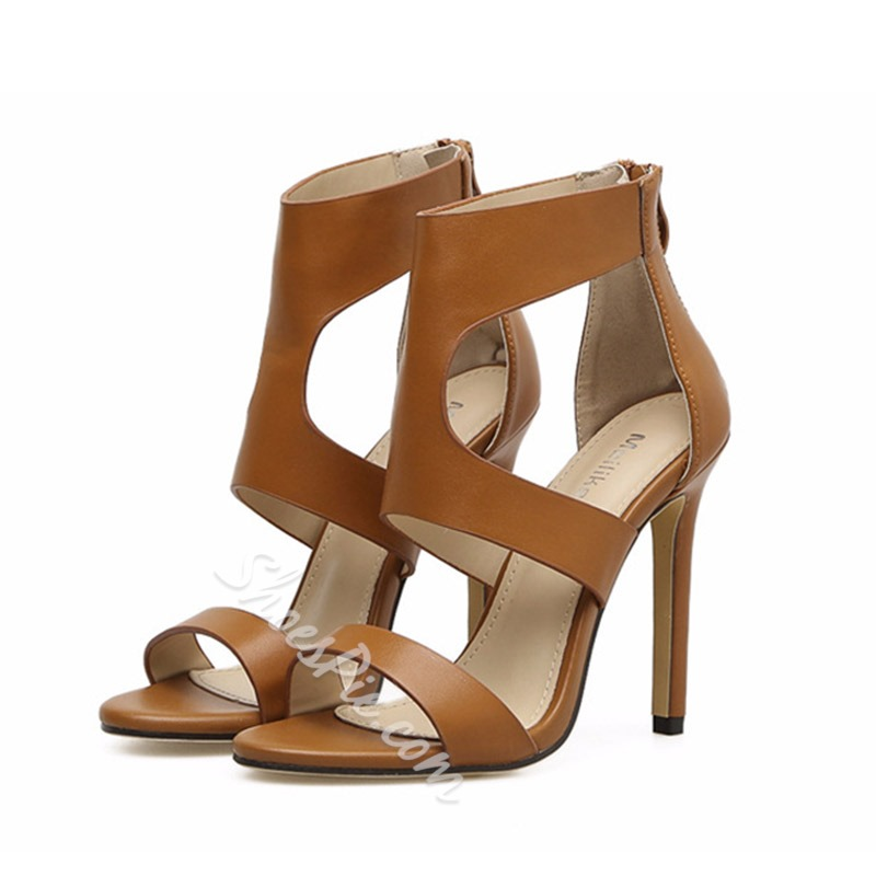Plain Hollow Open Toe Dress Sandals
