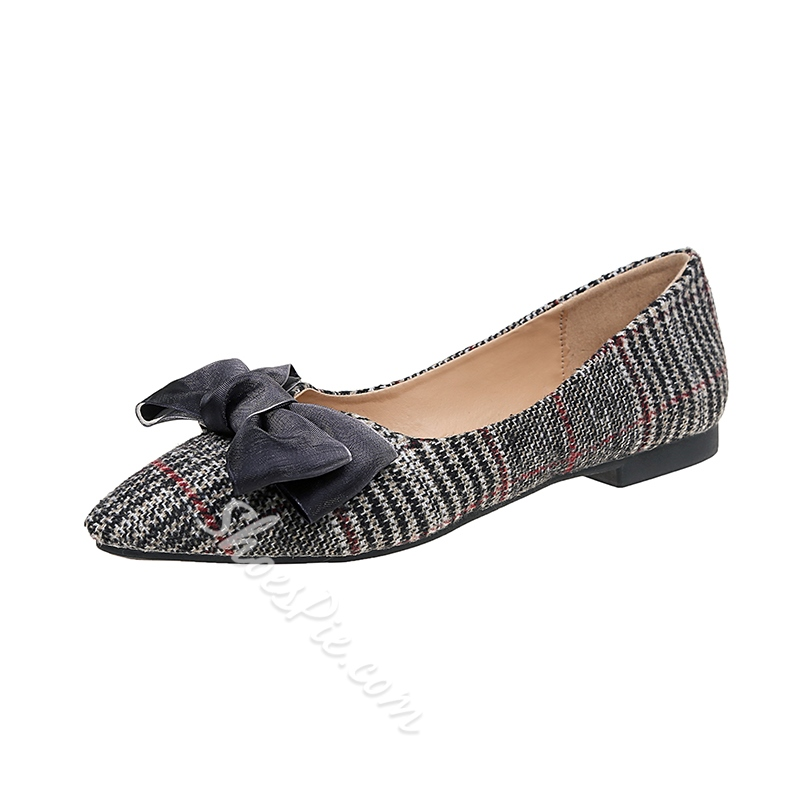 Plaid Bow Slip-On Women's Casual Shoes