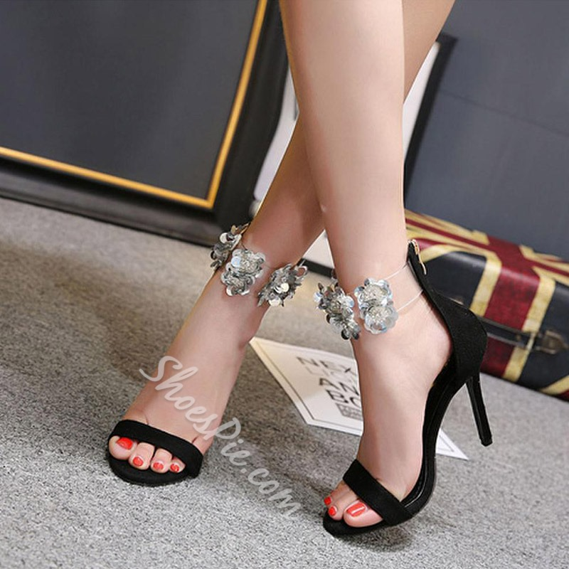 Floral Open Toe Stiletto Heel Dress Sandals
