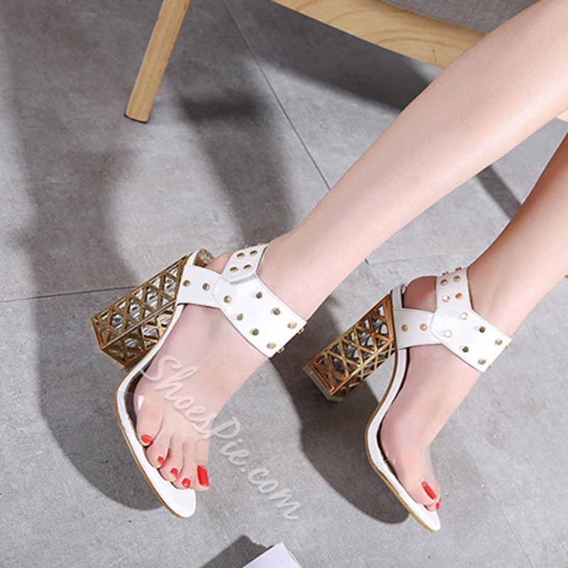Rivet Ankle Strap Chunky Heel Sandals