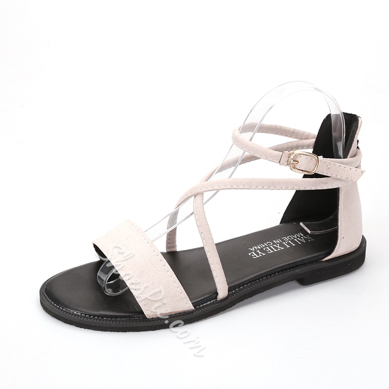 Plain Buckle Casual Women's Flat Sandals