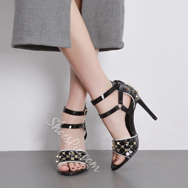 Plain Rivet Open Toe Stiletto Heel Sandals