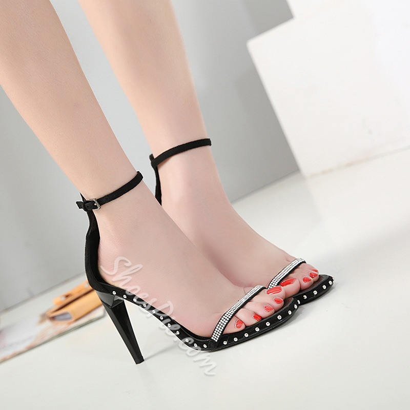 Black Rhinestone Rivet Dress Sandals