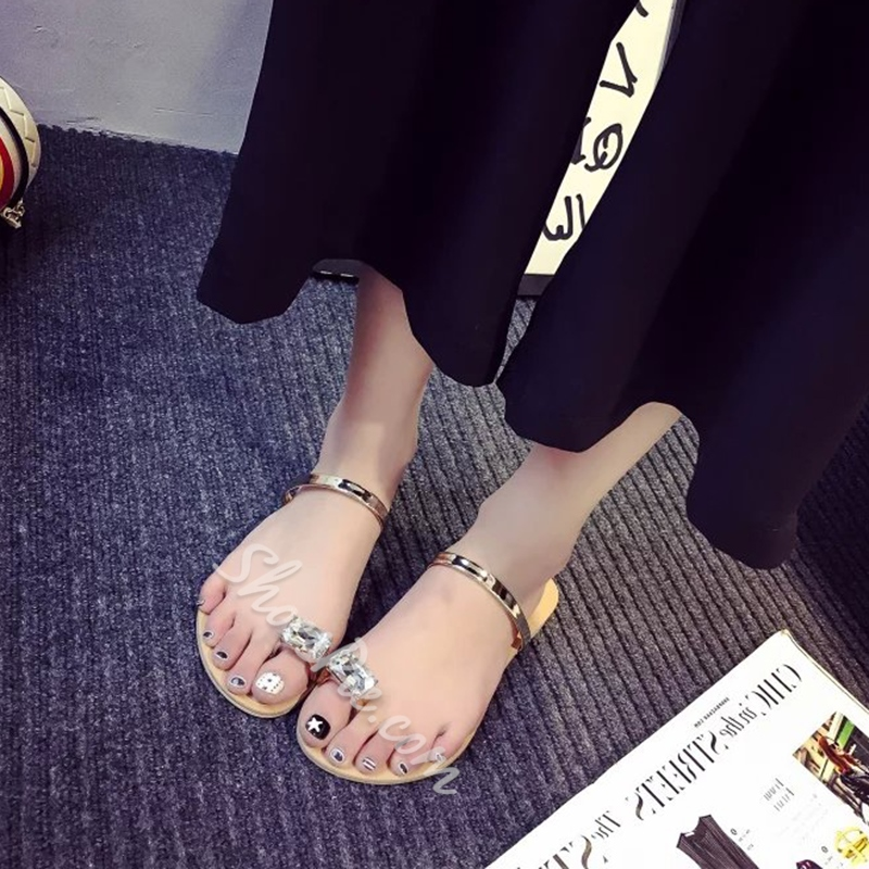 Rhinestone Thong Slip-On Flat Sandals