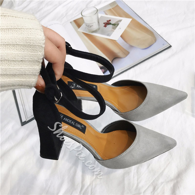Color Block Line-Style Buckle Chunky Heels