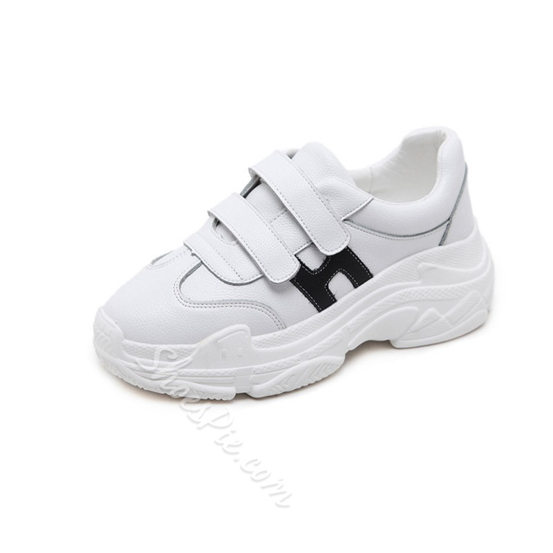 White Platform Letter Women's Sneakers