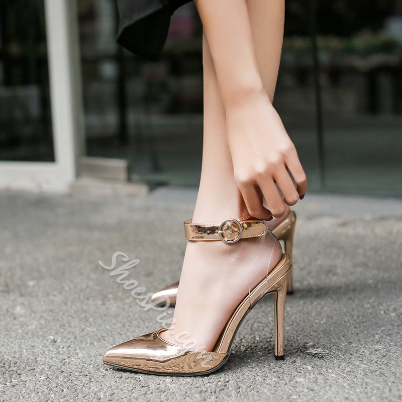 Line-Style Buckle Stiletto Heel Women's Sandals