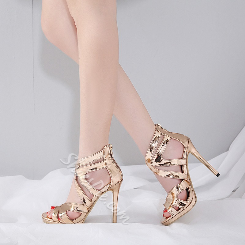 Plain Peep Toe Stiletto Heel Sandals