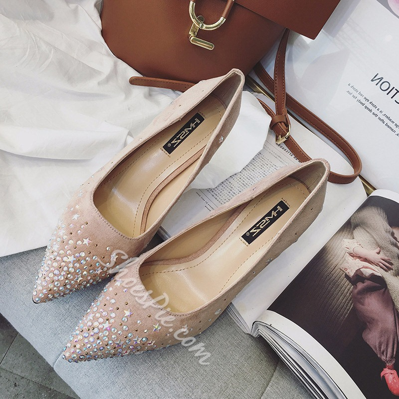 Rhinestone Plain Stiletto Heel Pumps