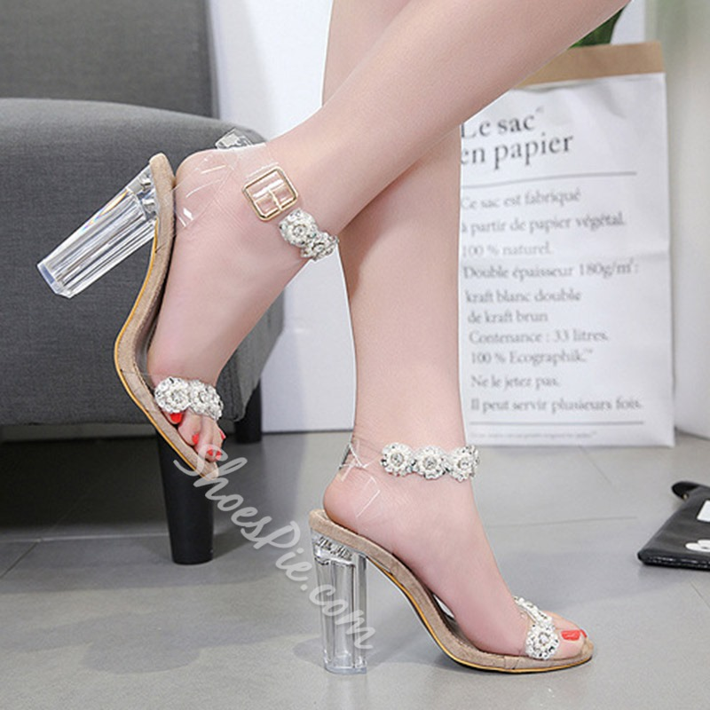 Rhinestone Jelly Ankle Strap Sandals
