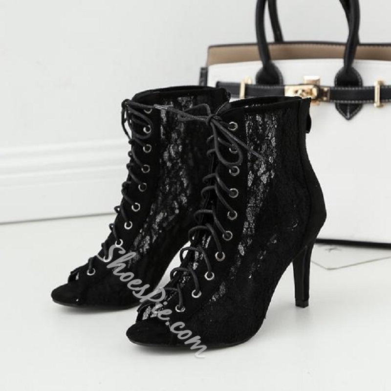 Mesh Cross Strap Peep Toe Stiletto Heel Boots
