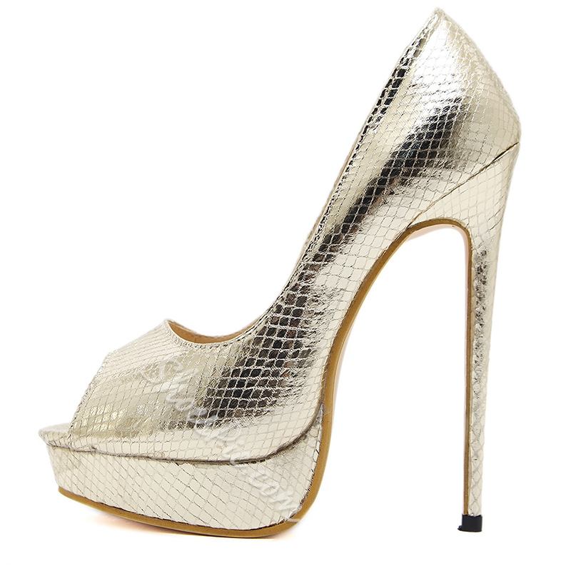Platform Peep Toe Slip-On High Stiletto Heels