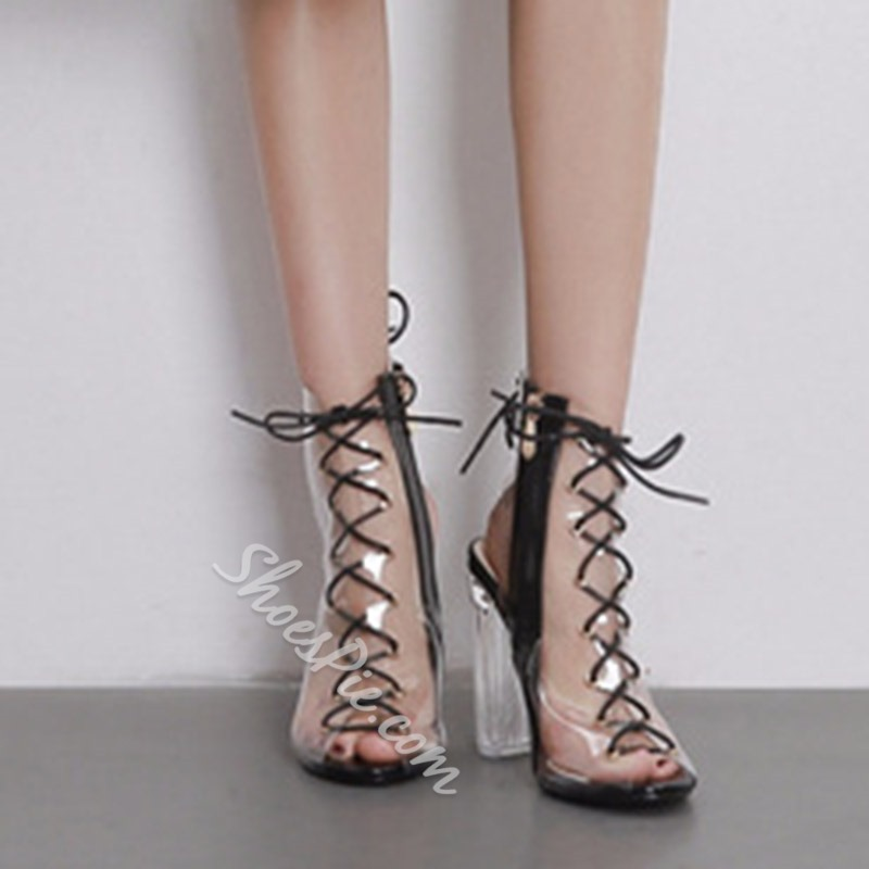 Jelly Cross Strap High Heel Sandals