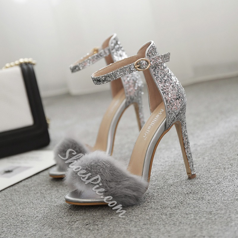 Silver Line-Style Buckle Stiletto Heel Sandals