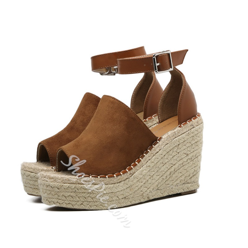 Peep Toe Women's Wedge Heel Sandals