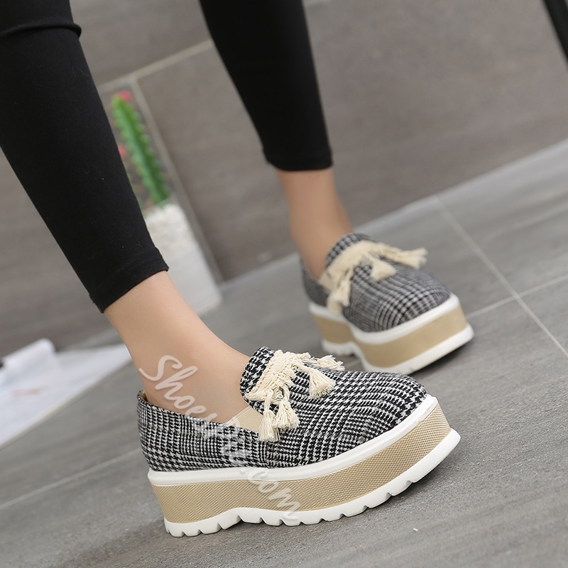 Plain Fringe Platform Women's Sneakers
