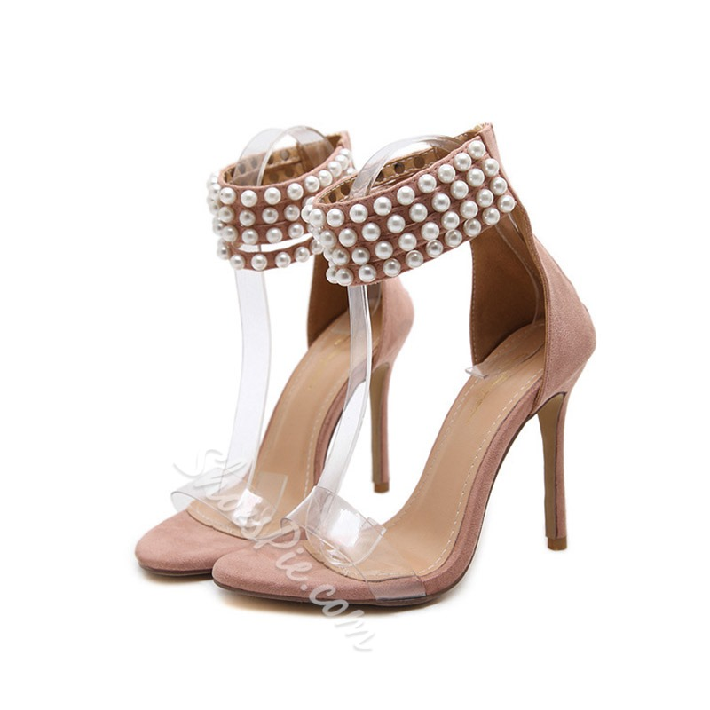 Bead Open Toe Stiletto Heel Sandals