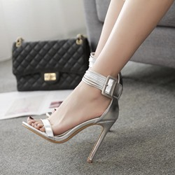 Silver Stiletto Heel Dress Sandals