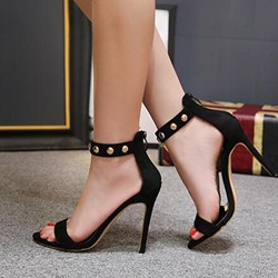 Black Rivet Stieltto Heel Dress Sandals