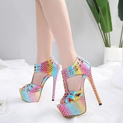 Color Block Platform Stiletto Heel Sandals