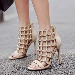 Rivet Mesh Open Toe Stiletto Heel Sandals
