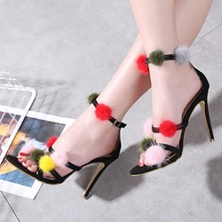 Pompon Black Stiletto Heel Dress Sandals