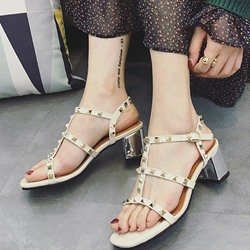 Rivet Buckle Chunky Heel Dress Sandals